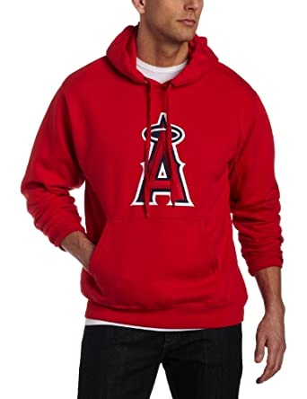 MLB Los Angeles Angels Suede Tek Long Sleeve Hooded Fleece Pullover by Majestic