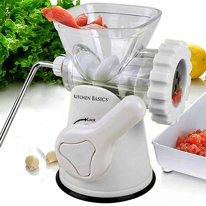 Kitchen Basics 3-In-1 Meat Grinder and Vegetable Grinder/Mincer, 3 Size Sausage Stuffer, Pasta Maker Via Amazon