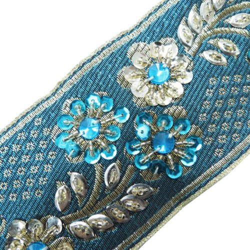 1 Yd Blue Hand Beaded Sequin Stone Ribbon Trim Sewing