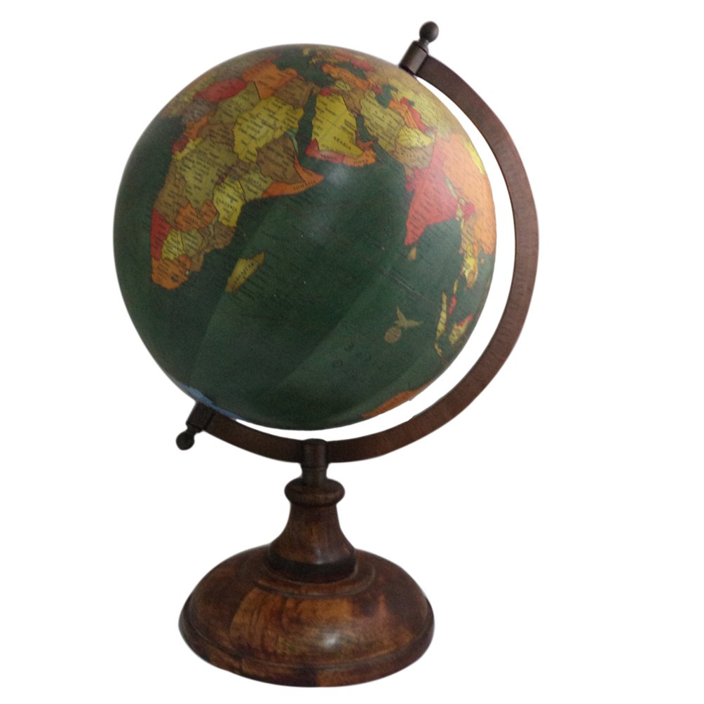 Handmade Wooden Stand Word Map Antique Decorative Plastic Globe 14