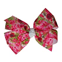 Girls New Fuchsia Floral GrosGrain Ribbon Hair Bow on Alligator Clip (5103)