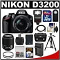 Nikon D3200 Digital SLR Camera & 18-55mm & 55-200mm DX AF-S Zoom Lens and Case with 32GB Card + Battery + Charger + Filters + Tripod + Flash + Accessory Kit