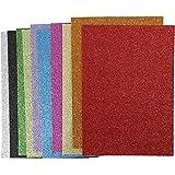 Moosgummi, A4 21x30 cm, Dicke 2 cm, sortierte Farben, Glitter, 10sort. Blatt