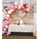 102 Pack Birthday Party Balloon Garland Arch Kit-100pcs Latex Balloons, 16 Feets Arch Balloon Strip Tape, Balloon Tying Tool for Bridal Shower Baby Shower Wedding Party Backdrop (Color: Plush Pink,rose Gold,champagn,whitee)