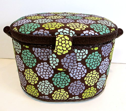 St.Jane Sewing Basket,brown with Flowers,plastic Compartment Shelf,handle,9.5