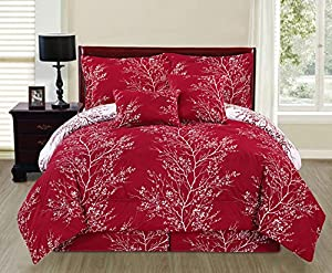 Ace 6-piece Reversible Soft Red Tree Branches Comforter Set (Queen Size)