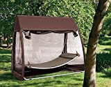 Abba Patio Outdoor Canopy Cover Hanging Swing Hammock with Mosquito Net 7.6x4.5x6.7 Ft, Chocolate