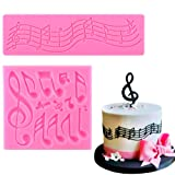 Sakolla (Set of 2) Music Note Fondant Silicone Molds,Music Note Lace Mat,Cake Decorating Tool Candy Mold Baking Tool Cupcake Topper Decoration (Color: Pink)