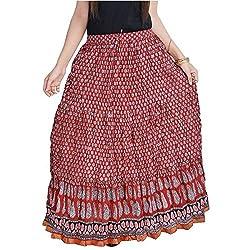 SHREEMANGALAMMART Fashionable Ethnic Cotton Short Length Skirt (Multi)(SMSKT579)