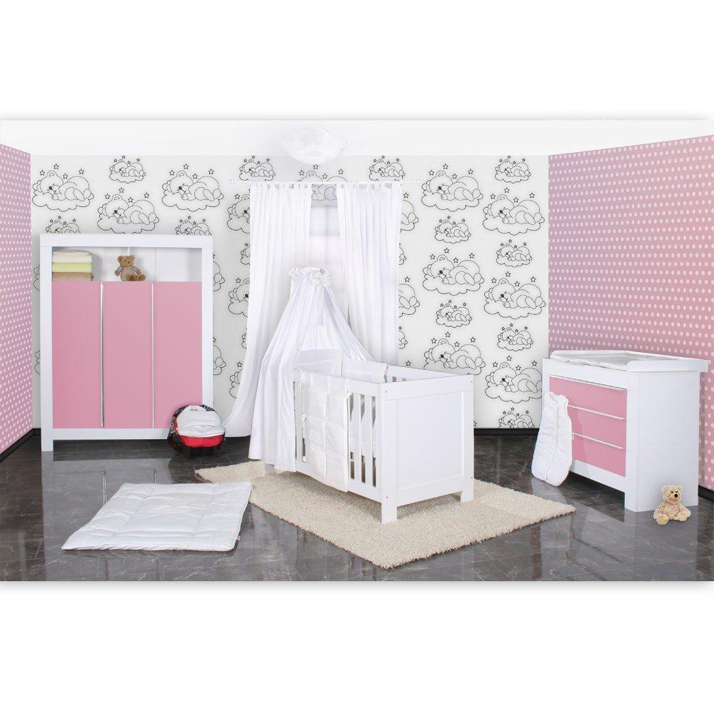 Babyzimmer Felix in weis/rosa 21 tlg. mit 3 türigem Kl + Sleeping Bear in weiss