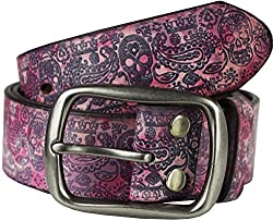 Heepliday Men's Colorful Halloween Style Leather Belt Medium 32-34 Sliver Buckle Pink Leather