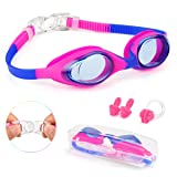 Swimming Goggles for Kids Swim Goggles Anti-Fog No Leaking UV Protection with Case Nose Clip and Earplugs for Boys Girls Youth Children (pink)