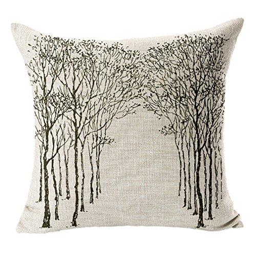Lukis 1stk. 45x45cm Kissenbezug Kissenhülle aus Baumwoll Leinen für Kissen Kopfkissen Dekokissen Idyll grau Baum