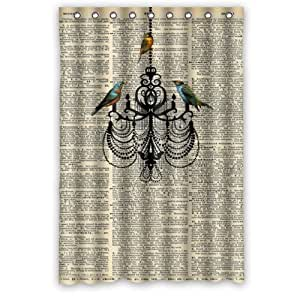 48 Width X 72 Height Vintage Dictionary Page Bird Chandelier Art Theme Design