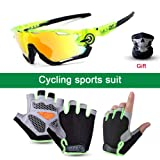 SENSHELN Cycling Bike Glasses and Gloves Set Polarized Sports Sunglasses with 4 Interchangeable Lens Foam Pad Shockproof Breathable Anti-Slip Outdoor Sports Workout Gloves (Green, Gloves Medium) (Color: Green, Tamaño: Gloves Medium)