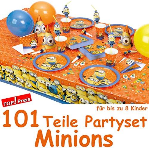 101-teiliges-MINIONS-fr-Party-und-Geburtstag-mit-bis-zu-8-Kinder-Teller-Becher-Servietten-Partytten-Tischdecke-Einladungen-Luftschlangen-Luftballons-uvm-von-Amscan-Deko-Fest-Kinder-Geburtstag-Kinderge