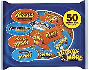 Hershey's Snack Size Assortment (Almond Joy & Reese's), 50-Piece, 26.5-Ounce Bags (Pack of 2)