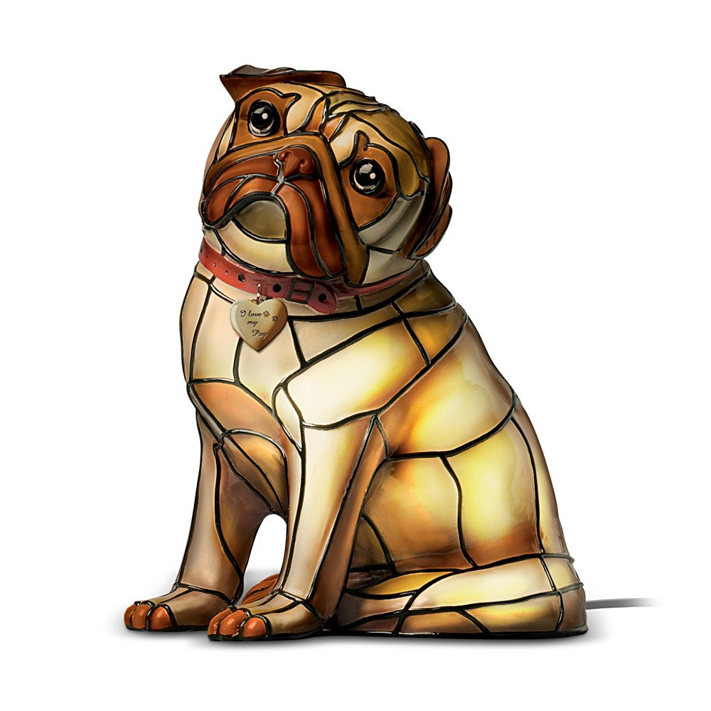 Precious Pug Louis Comfort Tiffany-Style Vinyl Lamp by The Bradford Exchange