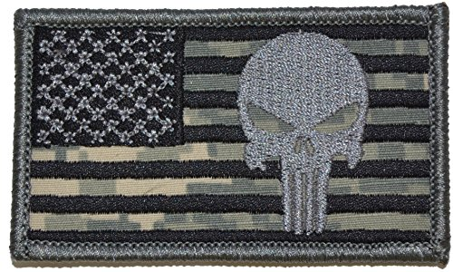 Big Save! Superimposed Punisher / USA Flag 2x3.5 Military Patch / Morale Patch (ACU)