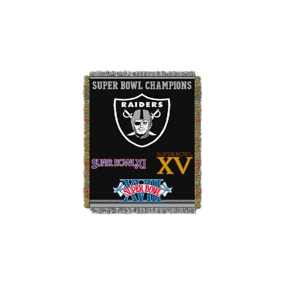 BSS   Oakland Raiders NFL Super Bowl Commemorative Woven Tapestry Throw (48x60)