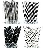 Secret Life(TM) 100% Biodegradable Paper Straws in 100% Biodegradable Container Box Black and White Stars Stripe and Zebra Pattern 100ct (PSCFPR00)