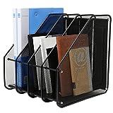 Mesh Metal 4 Compartment Freestanding Desktop Documents / Magazines / Notebooks / Folder Organizer Rack