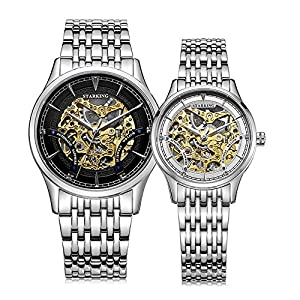 Starking Men's & Women's AM/L0185 Skeleton Automatic Wrist Watches for Couple
