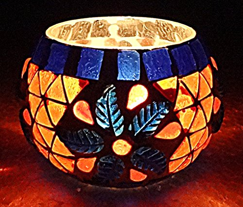 Indian Handmade Paint Work Design Mosaic Glass Candle Holder 3 Inch