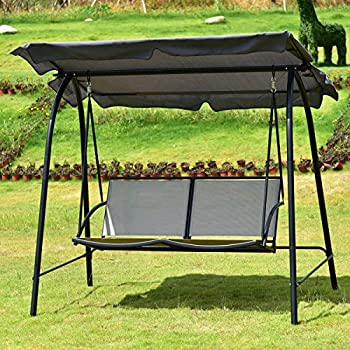 Tangkula 2 Person Patio Swing Glider Outdoor Loveseat Swing Hammock Glider Chair (Grey)