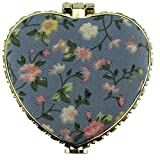 EYX Formula Chinese Embroidered Cloth printing makeup mirror for women,Heart shape Retro Double-sided folding Portable Compact mirror for pocket
