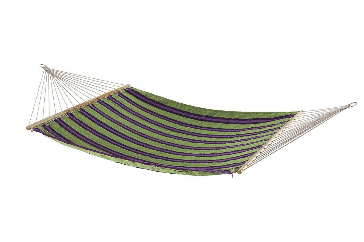 Hängematte mit Holzverstärkung und verchromten Eisenringen zum Aufhängen- sehr resistente Matte aus Polycotton - Größe 200 x 140 cm - grün, violett, zartlila