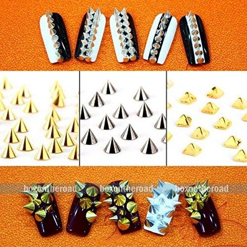 Punk Metallic Spike Rivets Alloy nnaaiill Art pyramid Studs Decoration Silver ; Size: 4*4MM ; 100 pcs