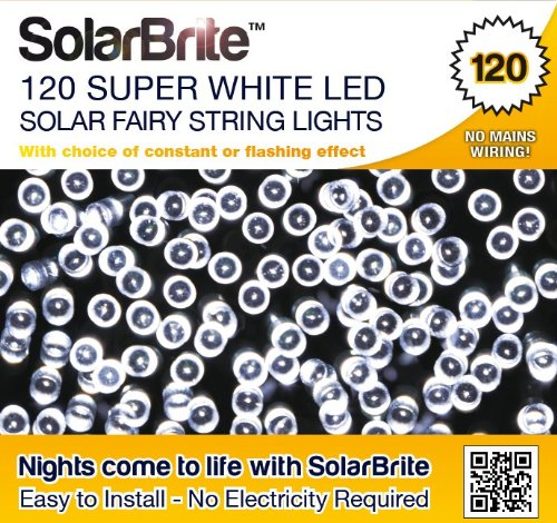 Solar Brite Deluxe Solar Fairy Lights 120 Super Bright White Led Decorative String, Choice Of Light Effect. Ideal For Trees, Gardens, Parties & More? front-98335