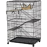 Yaheetech Folding Four tiers Pet Cat Ferret Metal Crate Cage w/ Removable plastic tray, Leopard Mat and Hammock