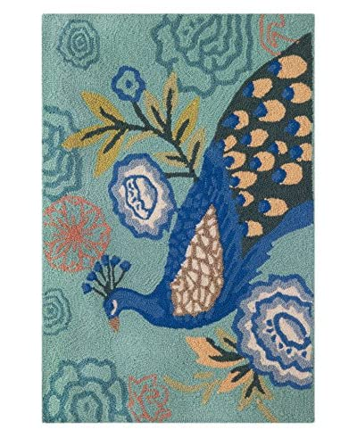 Homefires Rugs Perfect Peacock, Blue, 22 x 34