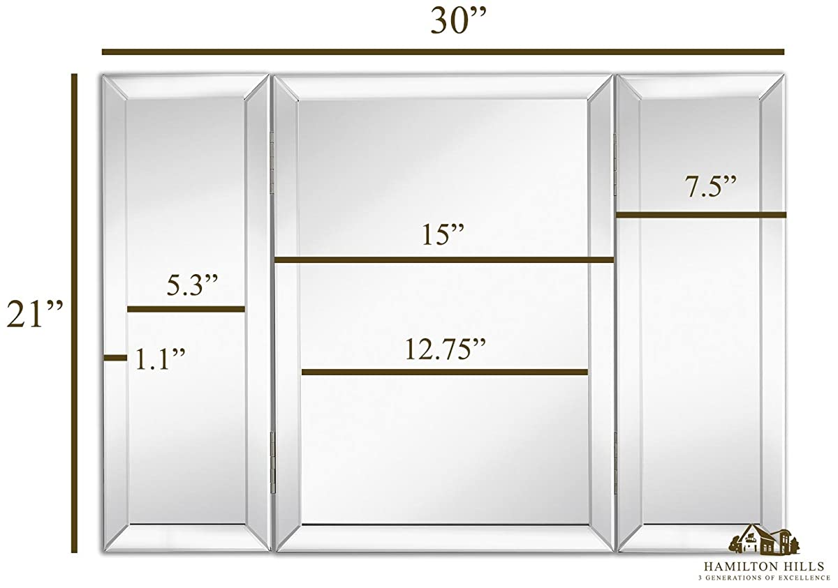 Hamilton hills trifold vanity mirror solid hinged sided tri fold hamilton hills trifold vanity mirror solid hinged sided tri fold beveled mirrored edges 3 way hangable on wall amipublicfo Image collections