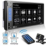 PLZ Double Din Car Stereo In-dash Digital Media Car Stereo Receiver with Bluetooth, 7'' Capacitive Touchscreen Digital LCD Monitor, MP5 Player/FM/Am/TF/USB/Aux-in, Remote and Backup Camera Included (Color: 111)