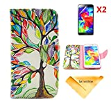Se7enline for Galaxy S5 i9600 [3 in 1 Bundle] Case+ 2 piece HD Clear Screen Protectors+Soft Clean Cloth,Painted Fashion Style Wallet Card Case Magnetic Design Flip Folio PU Leather Standup Cover Case for Samsung Galaxy S5 i9600 ,with Colorful Tree and Leaf Pattern,Lucky Tree