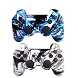 [2 Pack] Remote Bluetooth Controller for Playstation 3, Wireless Sixaxis Double Vibration Gamepad for PS3 (Include USB Charging Cable (1pcs White + 1pcs Blue) (Color: 1pcs white + 1pcs blue)