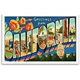 GREETINGS FROM CALIFORNIA vintage reprint postcard set of 20 identical postcards. Large letter US state name post card pack (ca. 1930's-1940's). Made in USA.