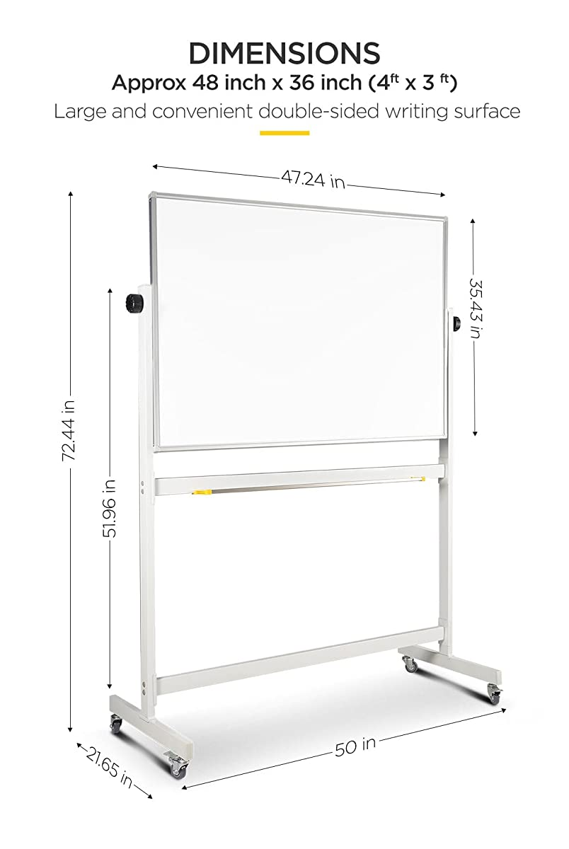"flybold Mobile Whiteboard 36"" x 48"" inch 