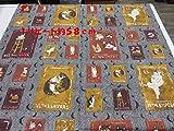 1パネル単位  マンハッタナーズ 猫のタロットカードB色 1パネル約58cm(リピート柄) オックス生地|かわいい |生地|布地|安い|服地|手づくり