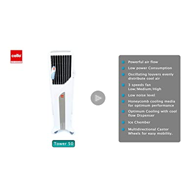 Cello Tower 50-Litre Air Cooler (White/Green)