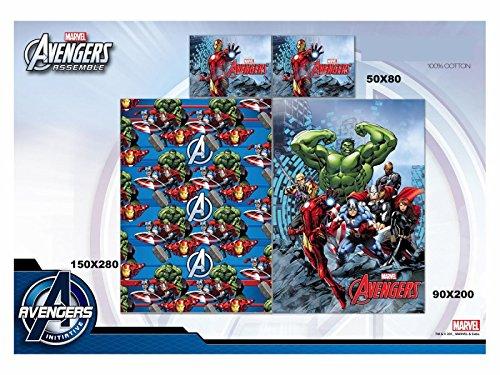 Lenzuola Avengers Hulk Iron Man Letto Singolo Puro Cotone Stampa Piazzata