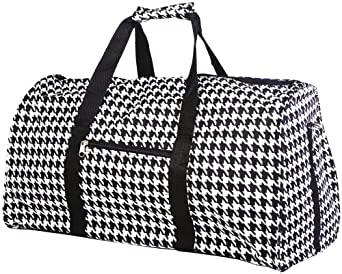 "Teens and Women's Overnight, Weekend or Gym 21"" Duffle Bag (Houndstooth- Black)"