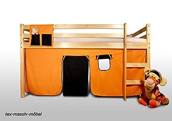 vorhangset neues design orange schwarz f r hochbet spielbett etagenbett dc957. Black Bedroom Furniture Sets. Home Design Ideas