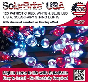 Amazon.com : Solar Fairy String Lights 120LED Super Bright Patriotic Red White & Blue Decorative ...