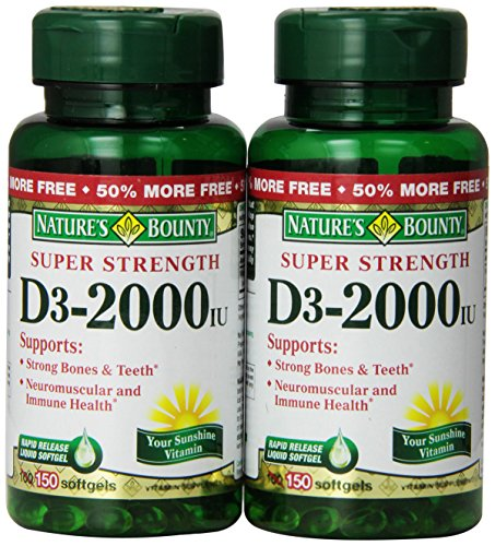 Nature'S Bounty Vitamin D 2000 Iu Softgels Twin Packs, 100-Count