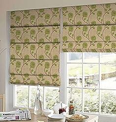 PRESTO BAZAAR 1 Piece Polyester Floral Blind - Green