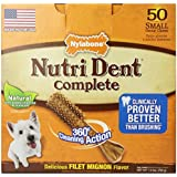 Nylabone Nutri Dent Complete Small Filet Mignon Flavored Dog Treat Bone-1.5 lbs